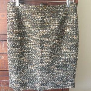 Ann Taylor Tweed Metallic Textured Pencil Skirt
